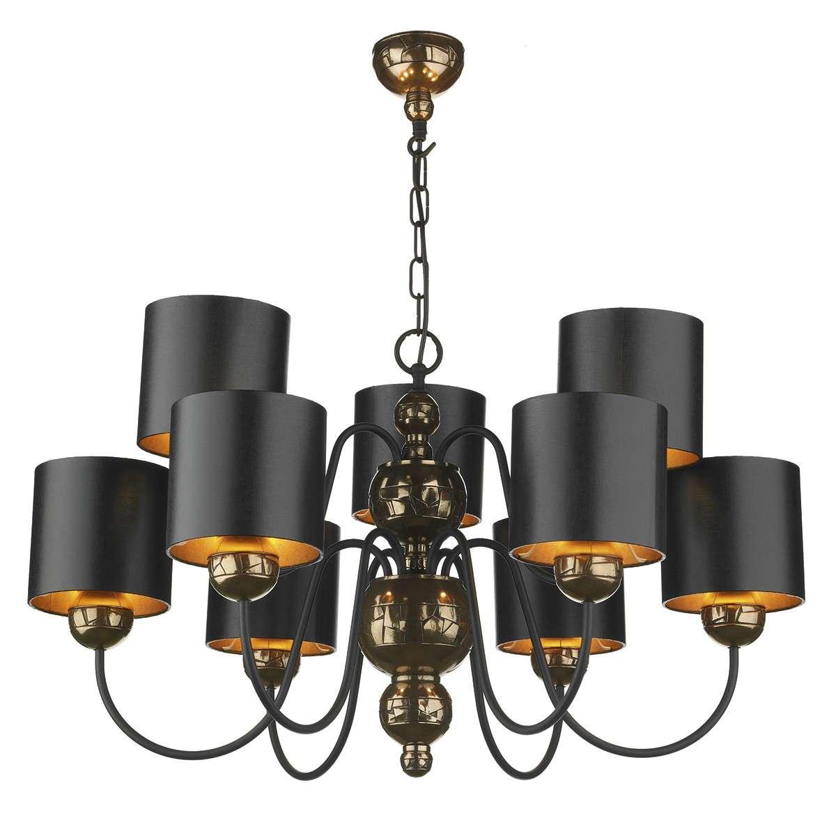 Garbo 9 Light Pendant Bronze complete with Black Bronze Shades