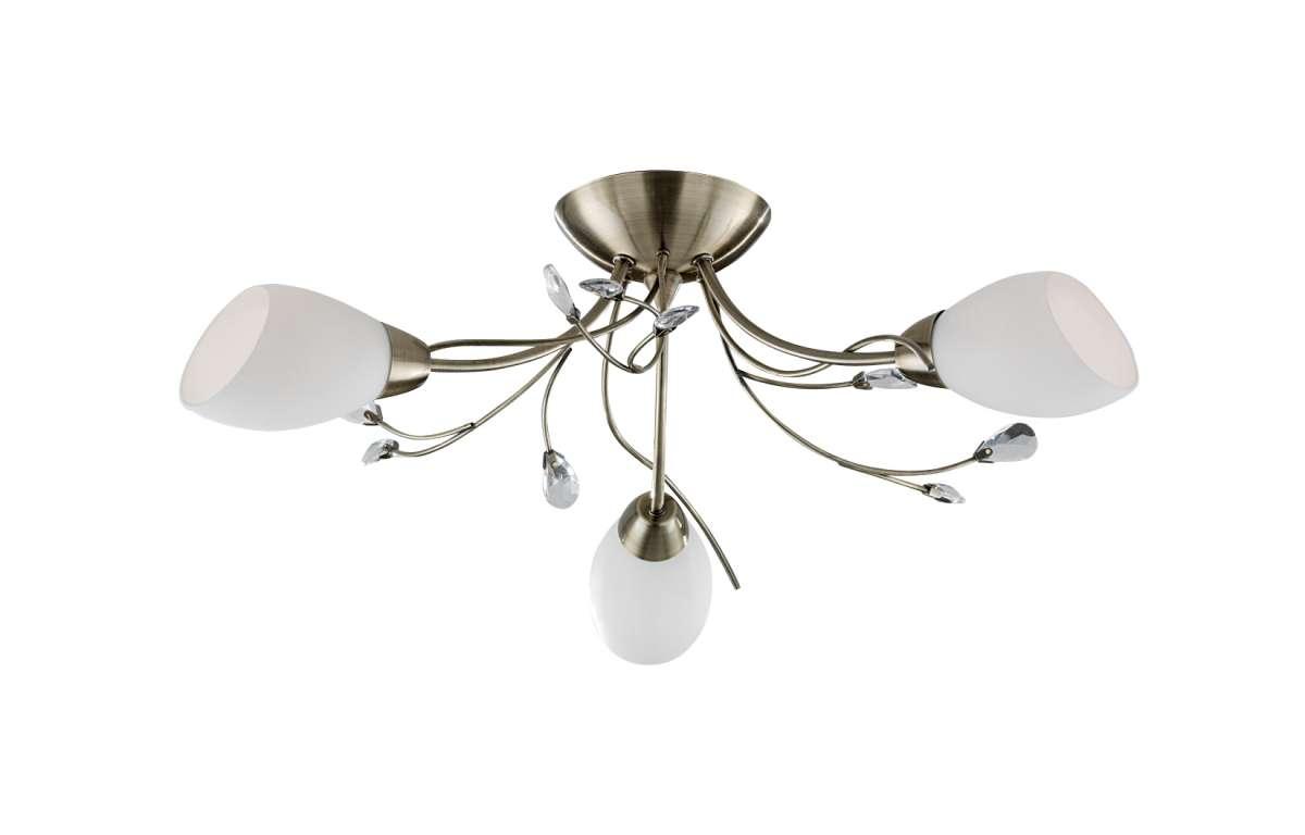 Gardenia 3-Light Antique Brass Semi-Flush Fitting