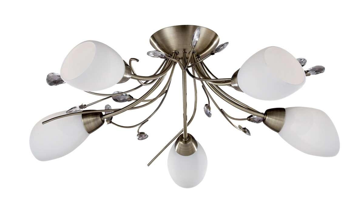 Gardenia 5-Light Antique Brass Semi-Flush Fitting