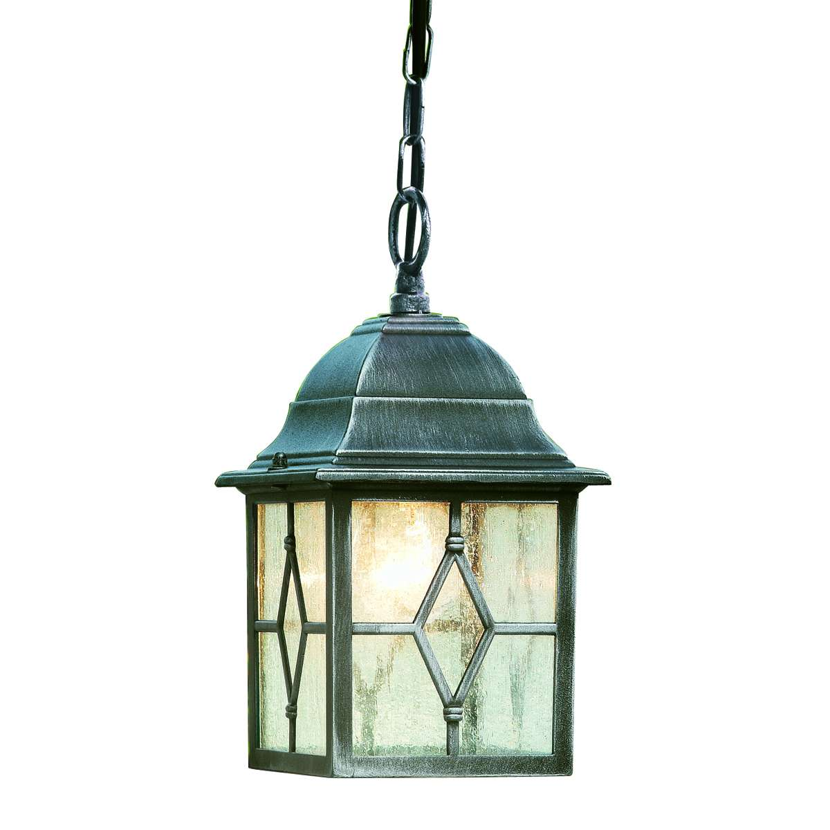Genoa Ip23 Black & Silver Outdoor Porch Light With Lead Glass