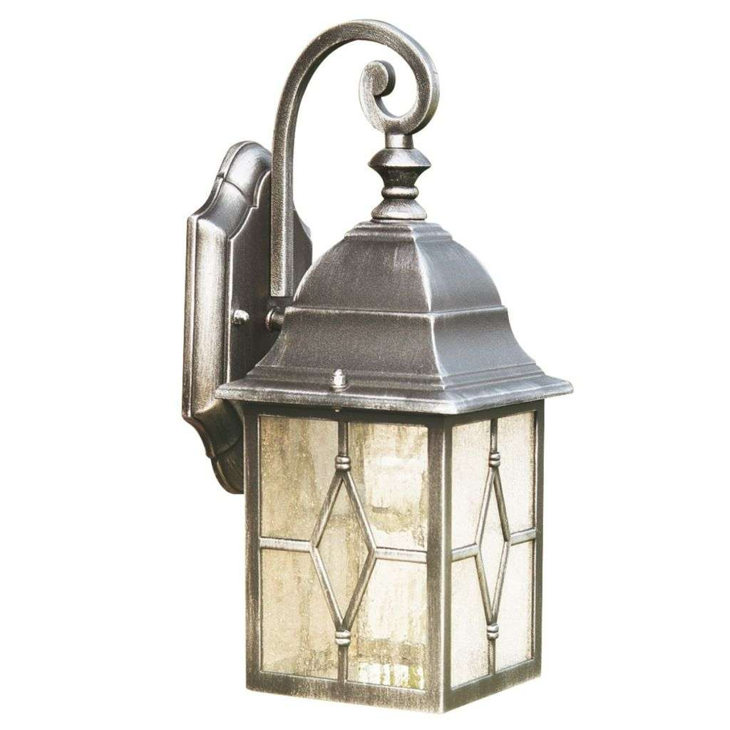 Genoa Ip44 Black & Silver Outdoor Wall Light With Lead Glass