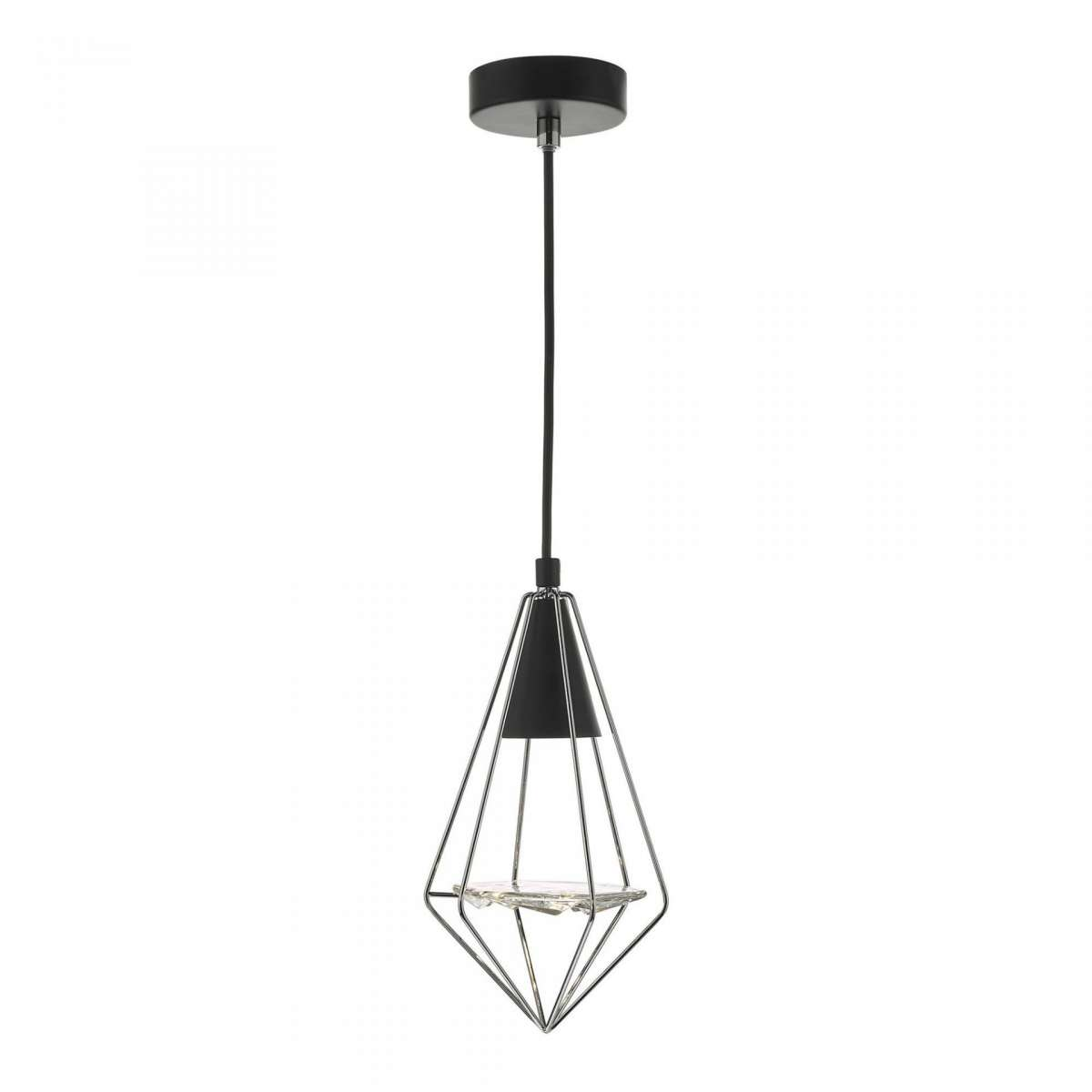 Gianni 1 Light Pendant Black, Polished Chrome & Glass