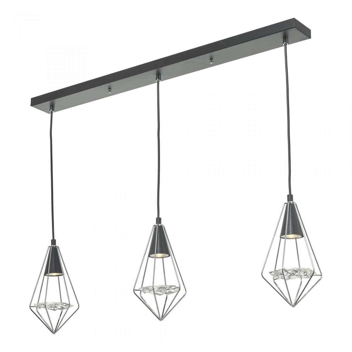 Gianni 3 Light Pendant Black, Polished Chrome & Glass