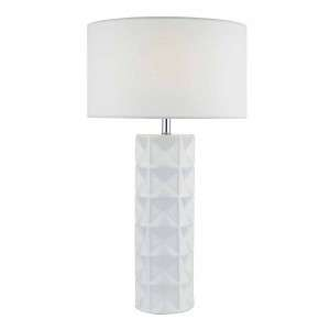 Gift Table Lamp White With White Linen Shade
