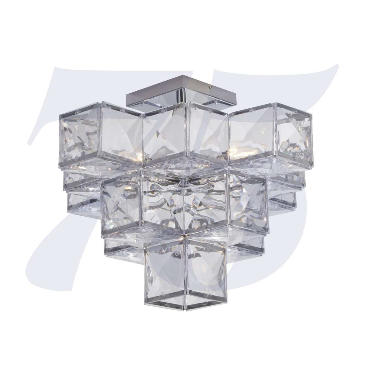 Glacier 5 Light Acryclic Semi Flush  Chrome