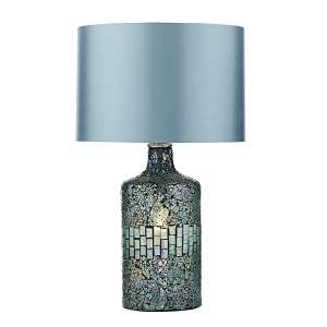 Guru Table Lamp Blue Mosaic Dual Source Complete With Shade