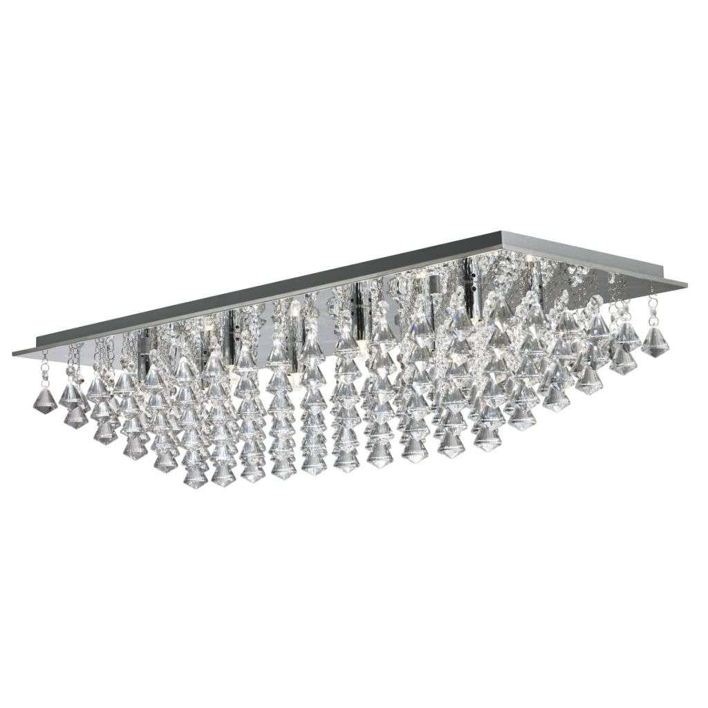 Hanna - 8  Light Rectangle Flush, Chrome, Crystal Pyramid Drops