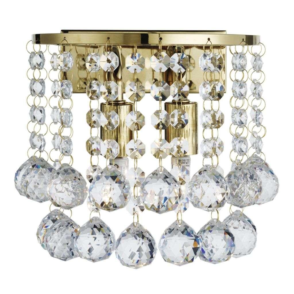 Hanna Gold 2 Light Round Wall Light - Clear Crystal Ball