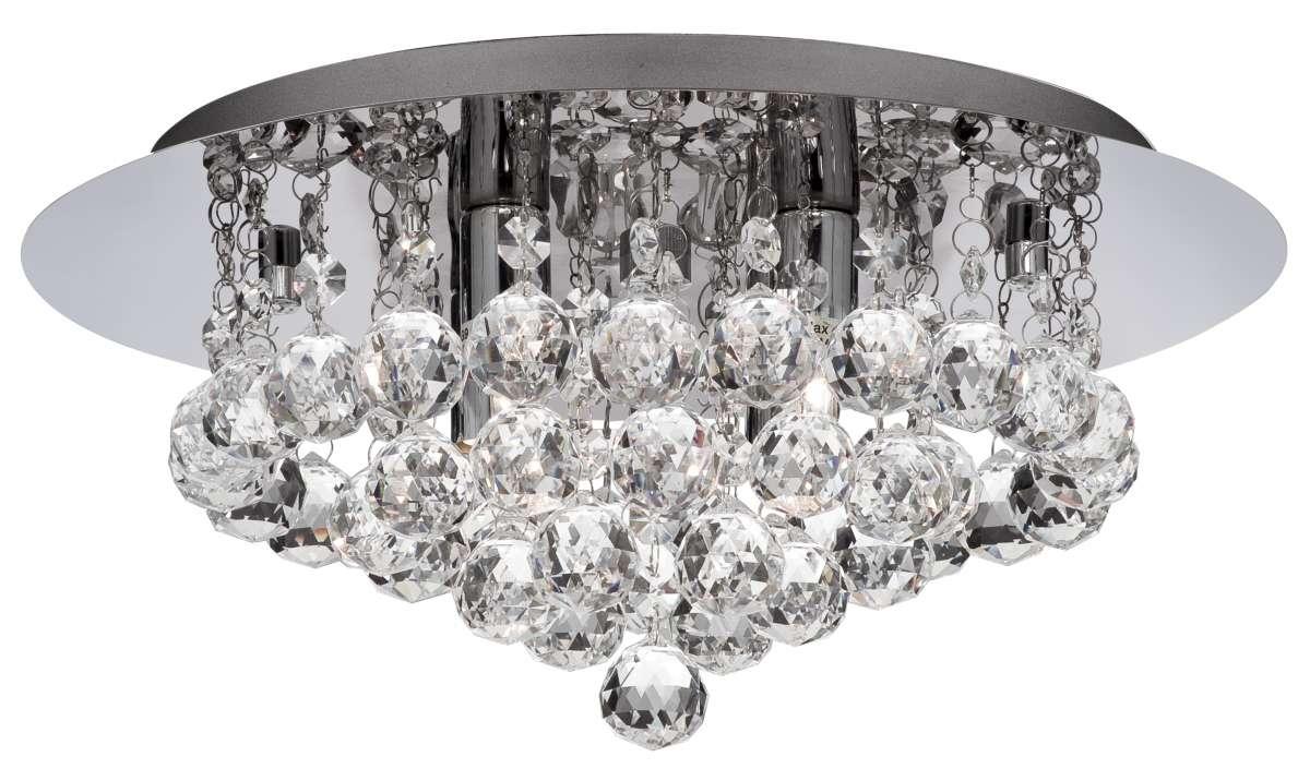 Hannah 4-Light Polished Chrome And Crystal Flush Fitting