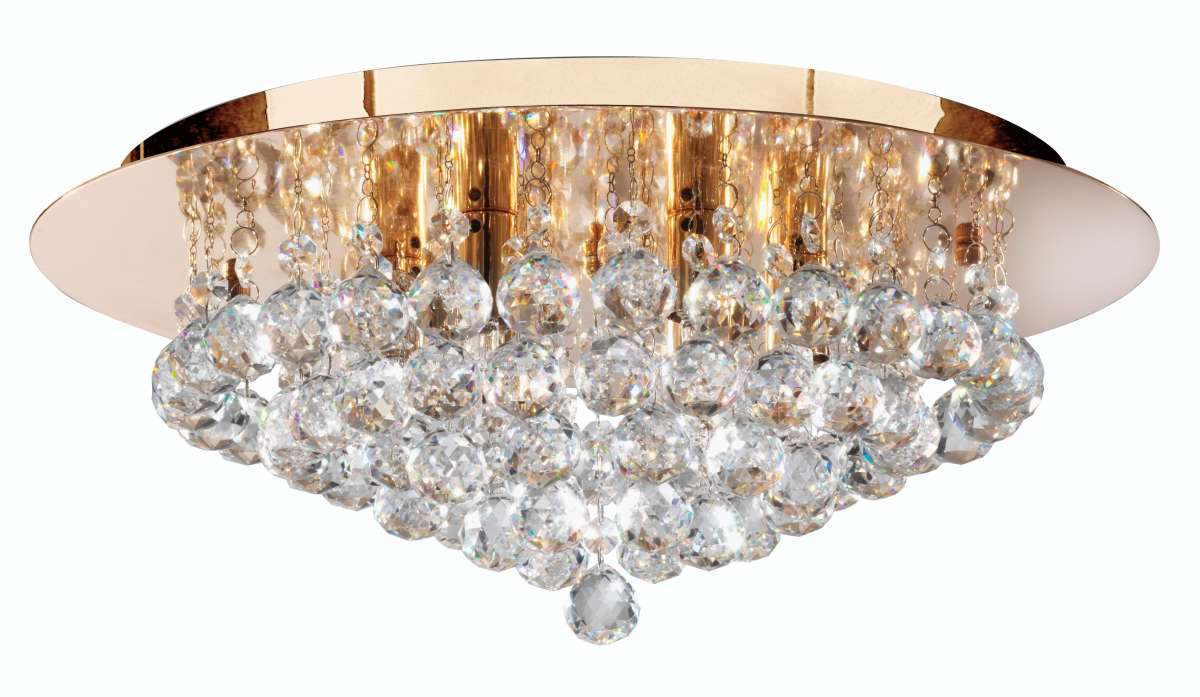 Hannah 6-Light Gold Finish And Crystal Flush Fitting
