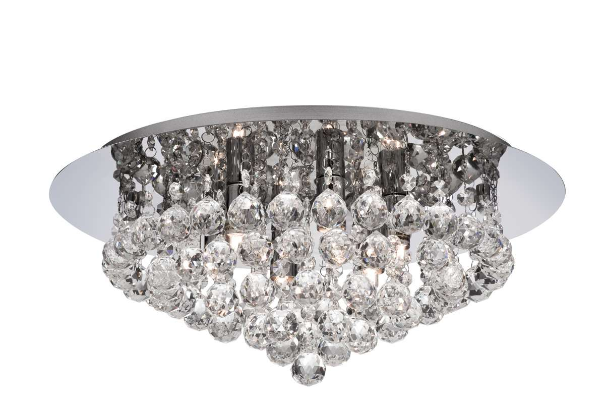 Hannah 6-Light Polished Chrome And Crystal Flush Fitting