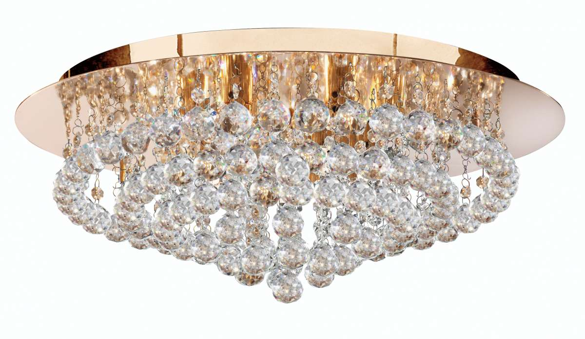 Hannah 8-Light Gold Finish And Crystal Flush Fitting