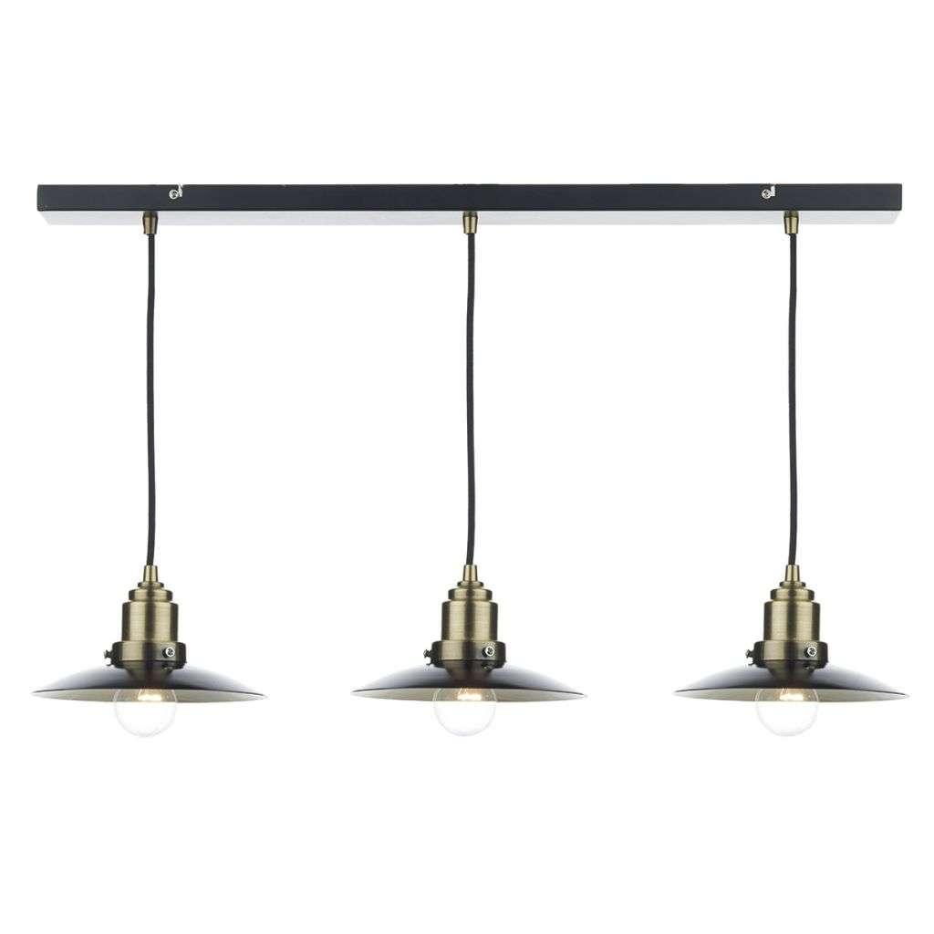 Hannover 3 Light Bar Pendant Black/ Antique Brass