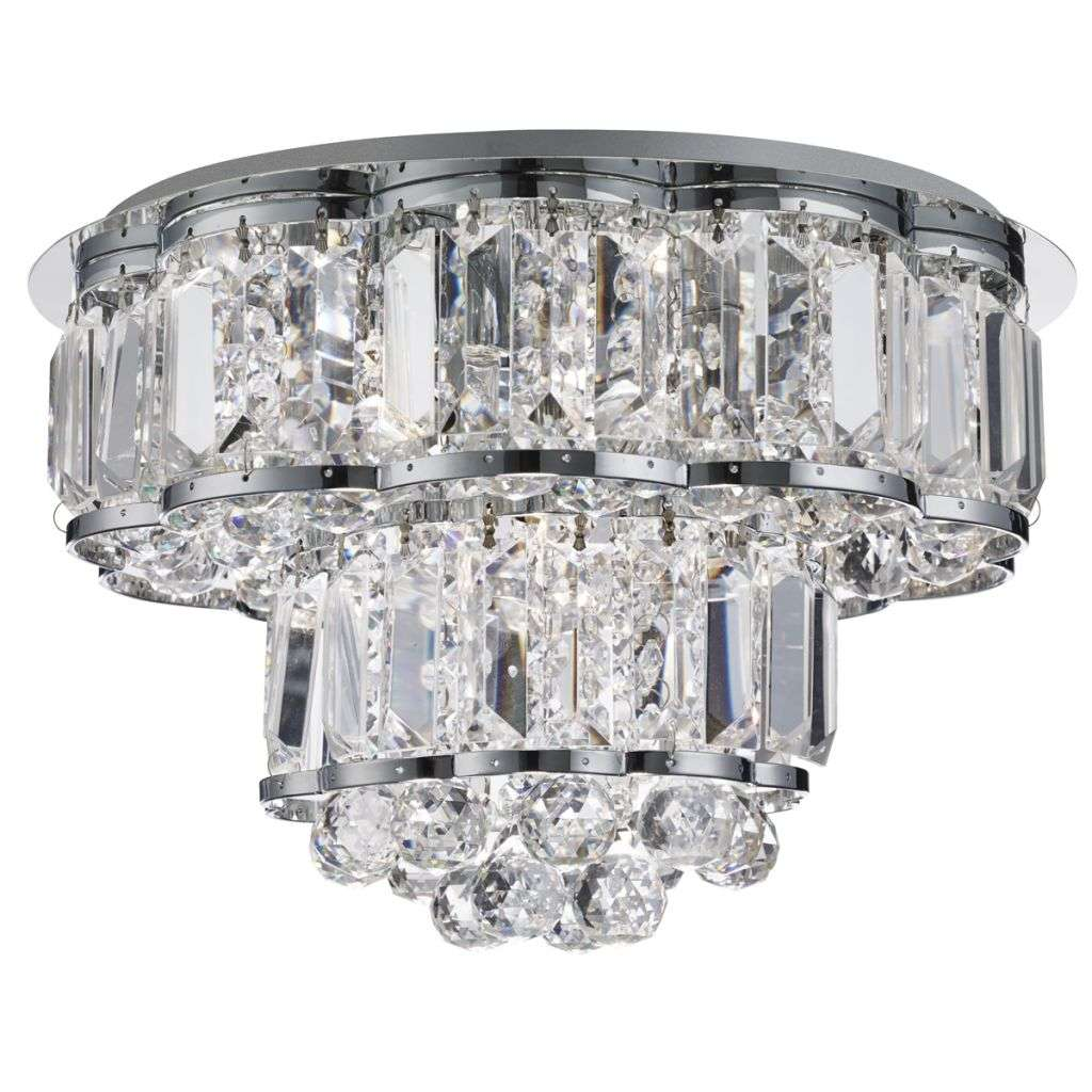 Hayley 4 Light Ceiling Flush, Chrome, Clearl Crystal Balls Drops
