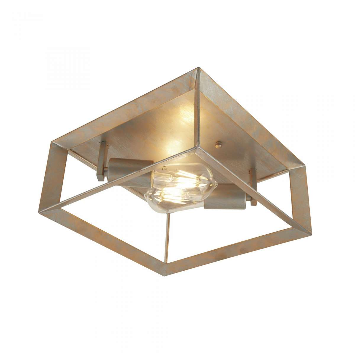 Heaton 2 Light Ceiling Light Brushed Silver Gold Finish