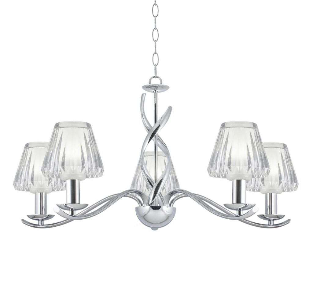 Helen Chrome 5 Light Ceiling Light With Cut Crystal Shades | Online Lighting Shop