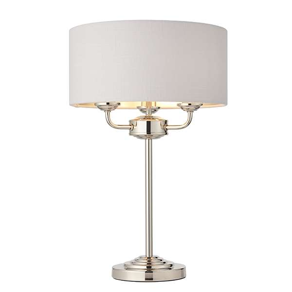 Highclere 3 Light Table Lamp in Bright Nickel C/W Silver Shade