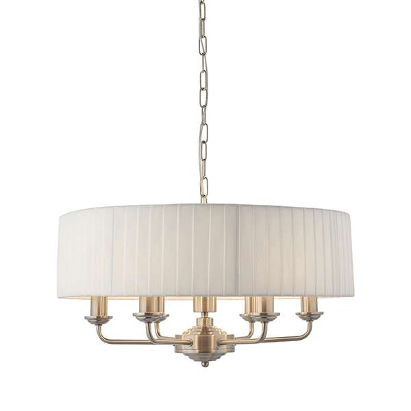 Highclere 6 Light Drum Pendant in Brushed Chrome C/W White Silk Shade