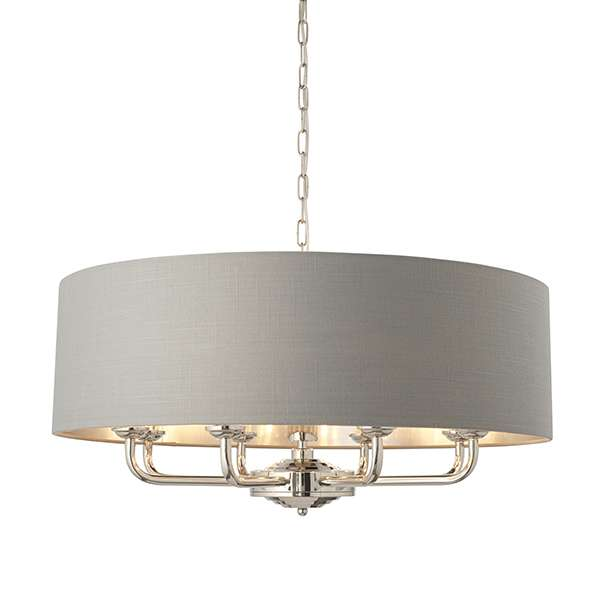 Highclere 8 Light Drum Pendant Bright Nickel C/W Charcoal Shade