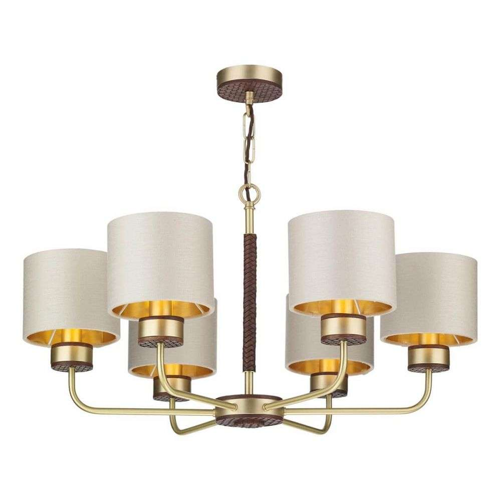 Hunter 6 Light Pendant in Butter Brass with Leather Effect
