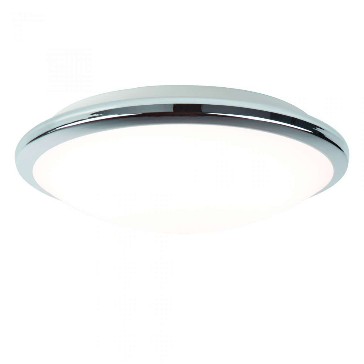 IP44 Chrome LED Flush Light with Frosted Glass Shade