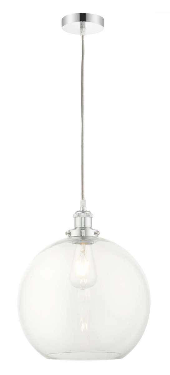 Lewis 1 Light Medium Glass Ball Pendant Polished Chrome
