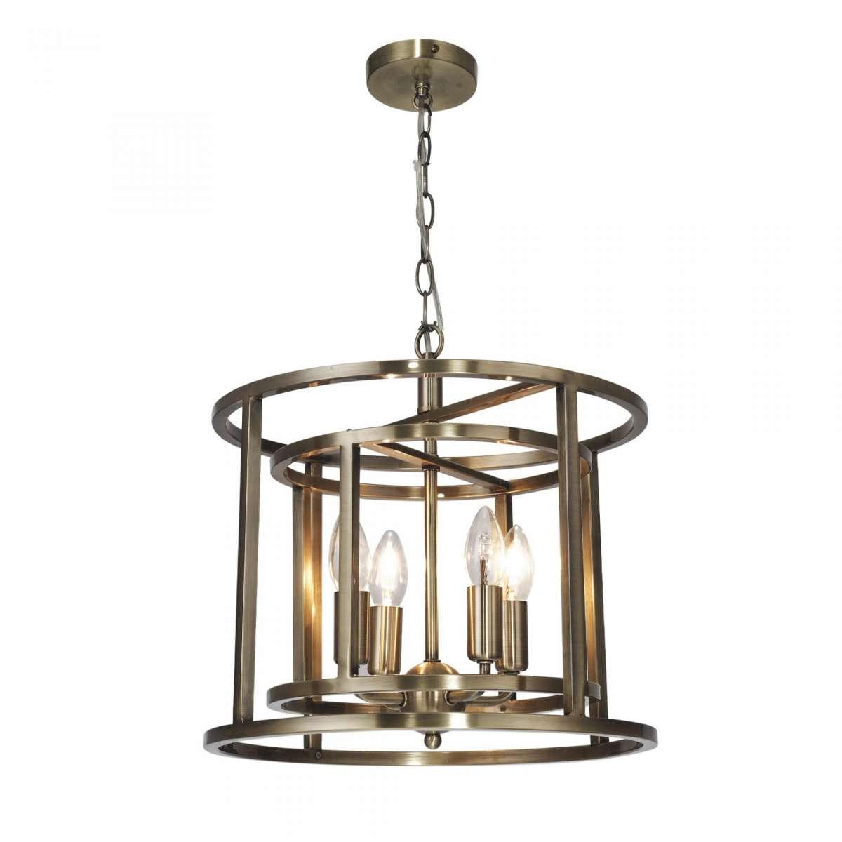 Magnalux CHE04AB Chester 4 Light Lantern Pendant Antique Brass