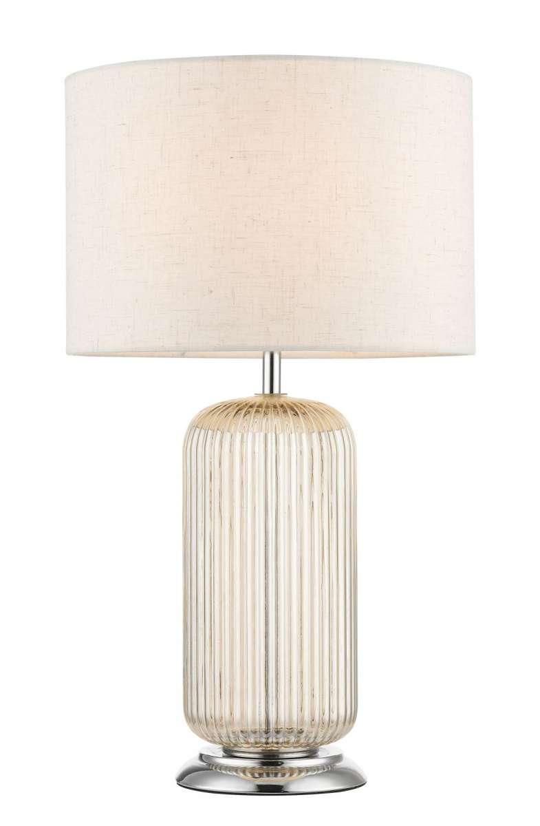 Mason Amber Ribbed Glass Table Lamp c/w Shade