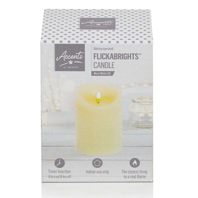 PREMIER LIGHTING LB192180 13cm Cream Flickabright LED Candle with Timer