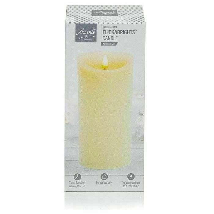 PREMIER LIGHTING LB192181 18cm Cream Flickabright LED Candle with Timer