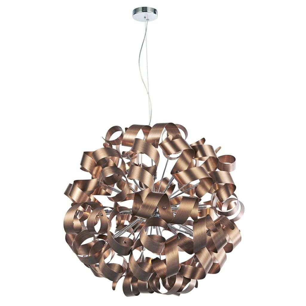 Dar Lighting Raw1264 Rawley 12 Light Brushed Satin Copper Pendant Online Lighting Shop