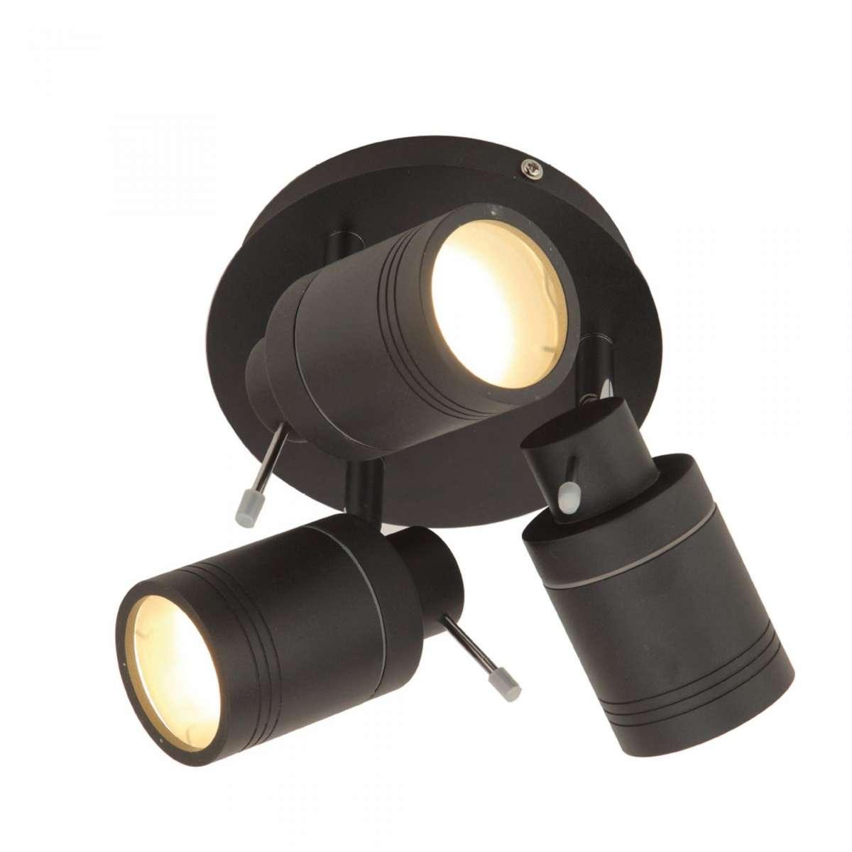 Scorpius 3 Light Matt Black Bathroom Spotlight