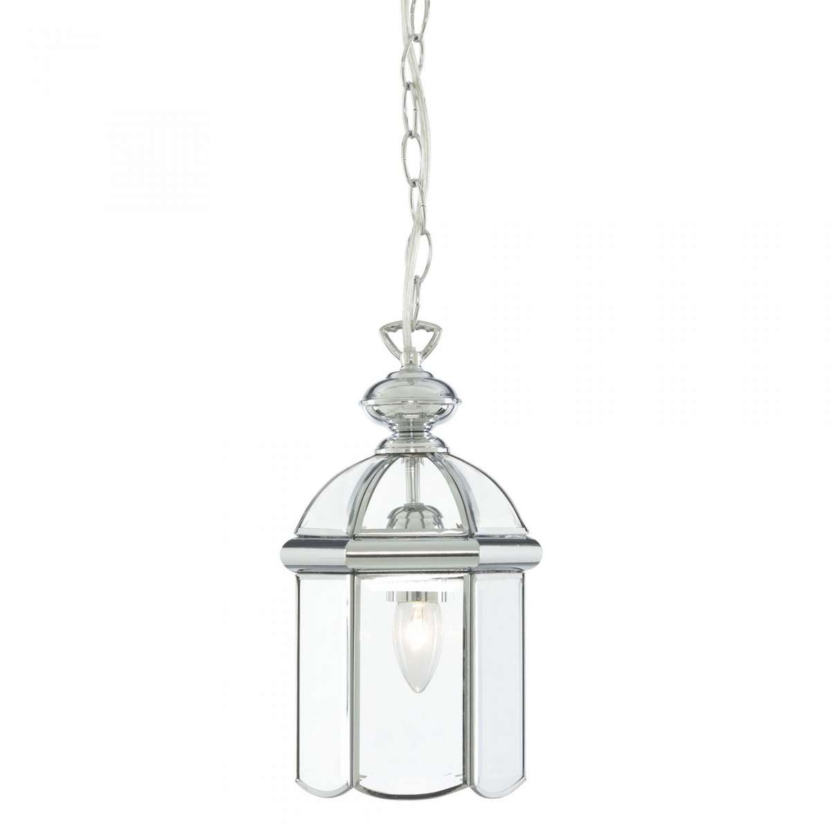 Searchlight 5131CC Chrome Lantern with Bevelled Domed Glass Shade