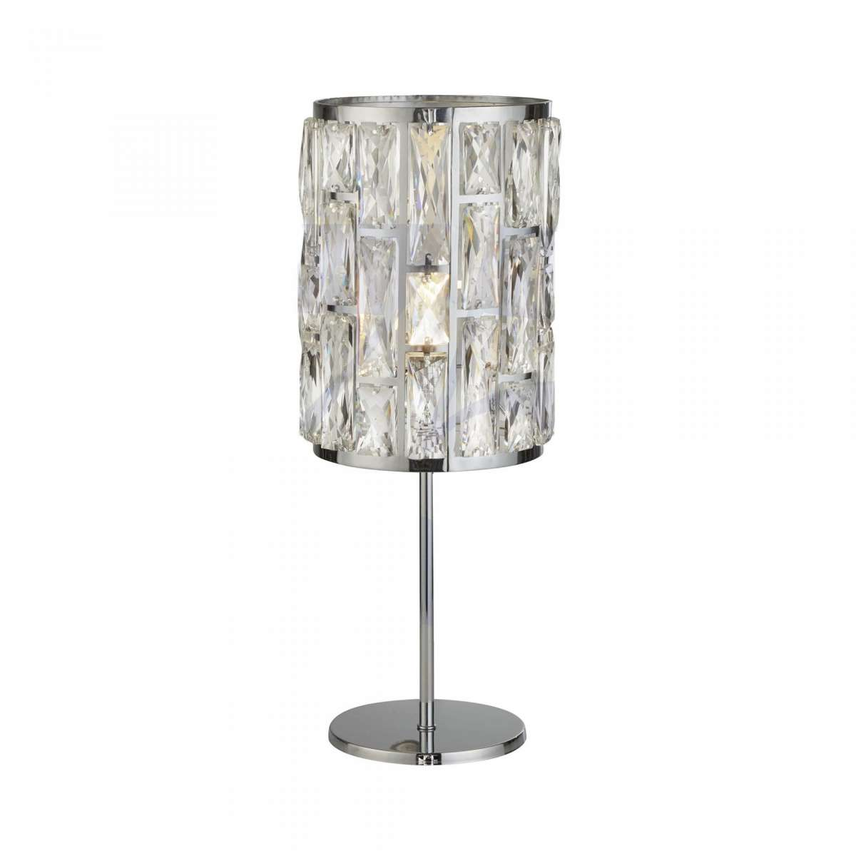 Searchlight 6584CC Bijou 1 Light Chrome Table Lamp With Crystal Glass
