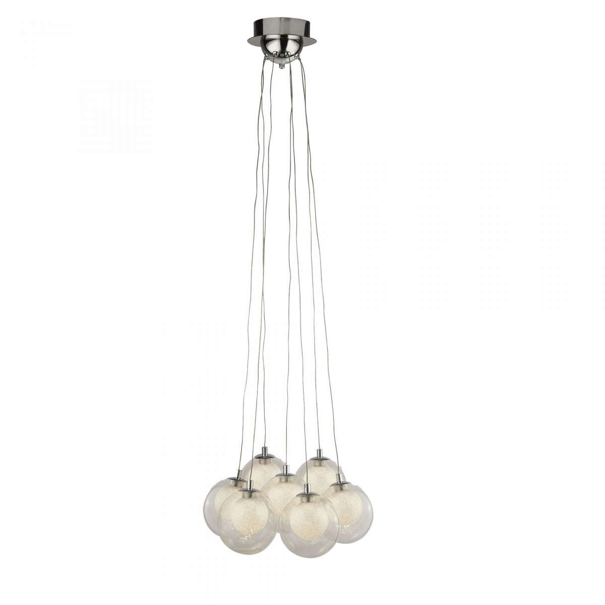 Searchlight 6867-7CC Cluster 7 Light Led Ball Pendant  Chrome With Clear Glass & Crystal Sand Balls