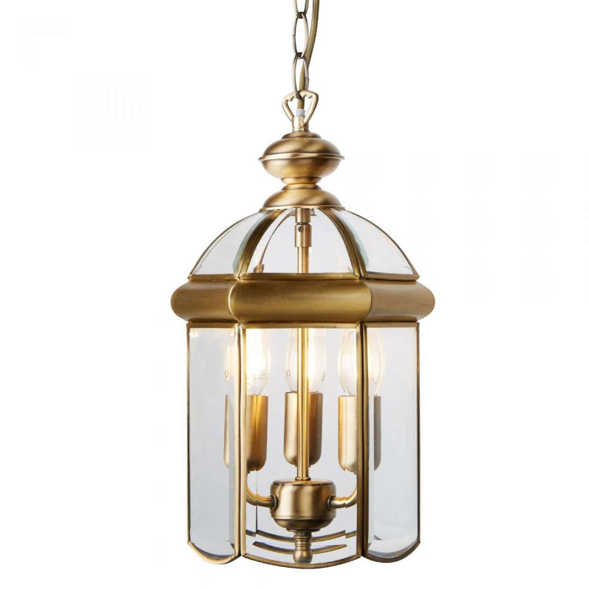 Searchlight 7133AB 3 Light Lantern Antique Brass With Domed Glass