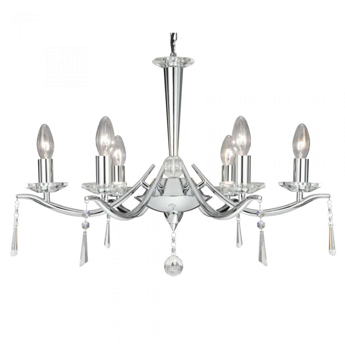 Searchlight 7956-6CC Arabella 6 Light Chrome Chandelier with Crystal Drops