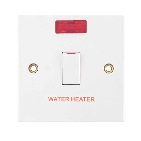 "Selectric 20 Amp DP Switch with Neon ""WATER HEATER"""