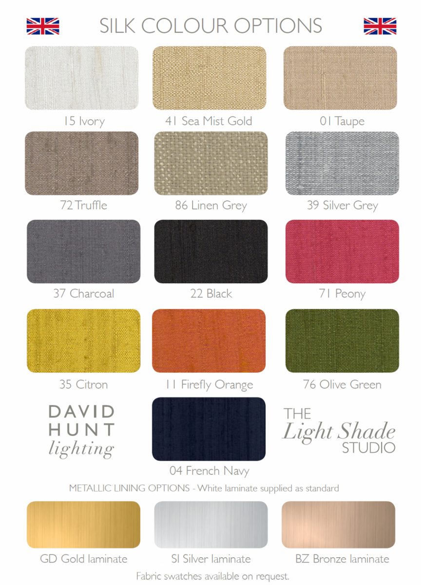 Shallow Drum Wide Silk Shade Available in 12 Colours
