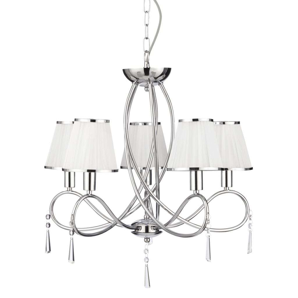 Simplicity Chrome 5 Light with Glass Drops and White String Shades