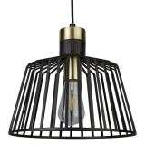 1 Light Cage Frame Pendant, Black and Gold