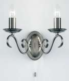 2-Light Antique Silver Wall Bracket