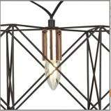 6 Light Black Frame Pendant With Copper Detail