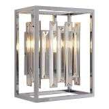 Acadia Wall Light in Chrome with Clear Crystal Rods