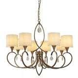Alberto 8 Light Pendant, Antique Brass, Linen Shades