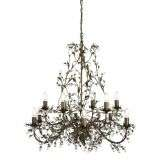 Almandite 12 Light Ceiling, Brown Gold Finish With Leaf Dressing And Clear Crystal Deco