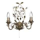 Almandite - 2 Light Wall Bracket, Brown Gold Finish With Leaf Dressing And Clear Crystal Deco