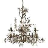 Almandite 8  Light Ceiling, Brown Gold Finish With Leaf Dressing And Clear Crystal Deco