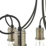 Alzbet 5 Light Semi Flush Antique Brass & Black Detail