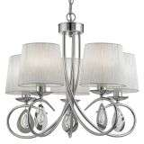 Angelique 5 Light Ceiling, Chrome, White Ruffled Shades, Chrome/Clear Glass Peardrop Deco